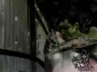 Dad pours out cum in chick slut's hand