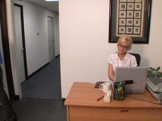 Hot blonde office girl