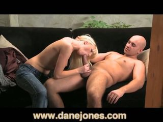 Petite blonde babe takes big schlong