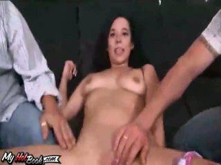 brunett fullständig, dubbel penetration, fin anal verklig
