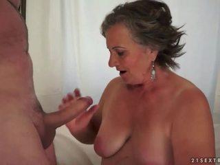 Hairy granny enjoying nasty sex
