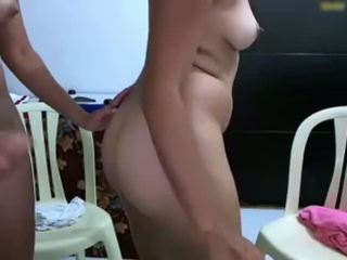Shemale cumming in his girlfriend's ass and then sucks it