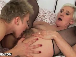 Old And Young Lesbian Love: Granny loves a good ass plugging