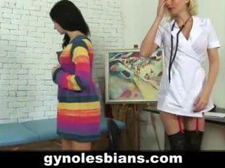 Lesbian gynecologist seducing patient