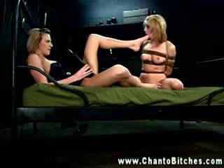 Petite blonde LEZDOM sub worshipping masters feet