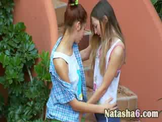 Ultra hungry naked lesbians on stairs