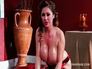 Nasty Tramp Rubbing Her Big Tits Against Her Masseur