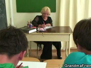 Two studs fuck old school teacher