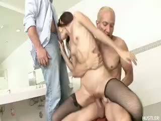 Tiny Amai Liu Blowing Two Giant Cocks
