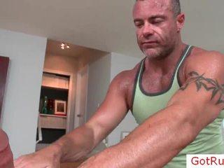 Chap getting rimmed wazoo under massagen