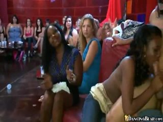 Tipsy And Horny Ladies Engulfing A Stripper's Penis