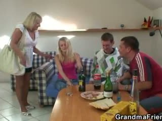 Two partying guys screw drunk granny