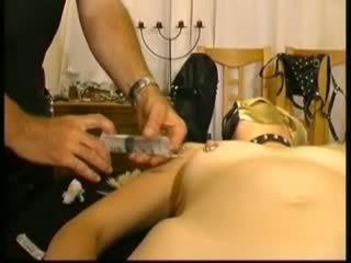 Masked Amateur Slavegirl in Saline Injections