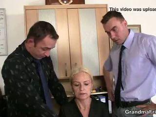 قديم شقراء enjoys two cocks