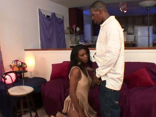 Ebony with Natural Tits gets Fucked from Behind in the
