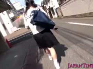 Klein japans schoolmeisje felledup