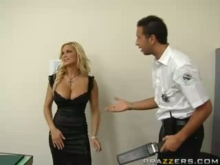 Policeman searching a gorgeous busty blonde and finding an dildo in her ass