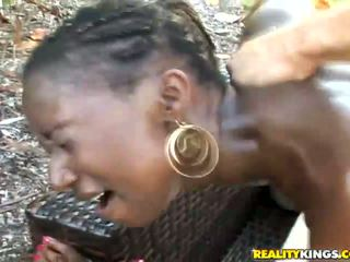 Black belle Kenya Sweetz get a white dick outdoor