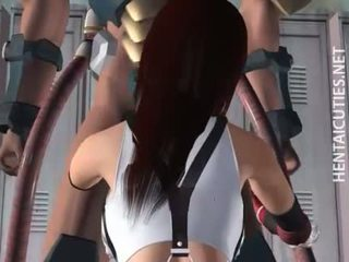 Hottie 3D hentai cutie suck tentacles
