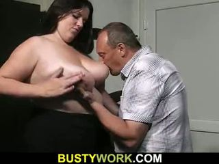 Busty bitch in fishnets rides his cock after blowjob