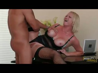 Filthy shaved Hayley Rivers getting her twat cracked by a monster cock