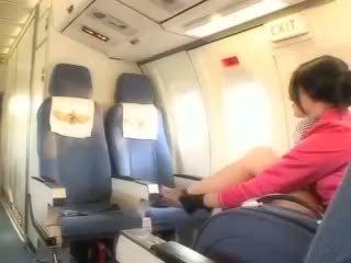 Sexy air hostess gets fresh sperm aboard