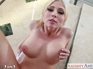 Busty blonde housewife Christie Stevens suck cock in POV