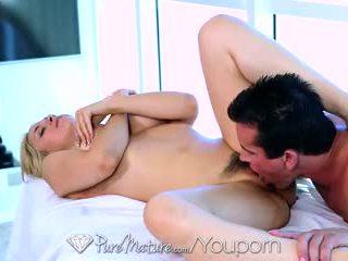 HD PureMature - Cute blonde Sarah Vandella gets fingered by the masseur
