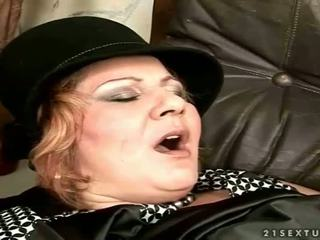Granny gets fucked on the couch