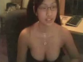 Busty asian glasses webcam