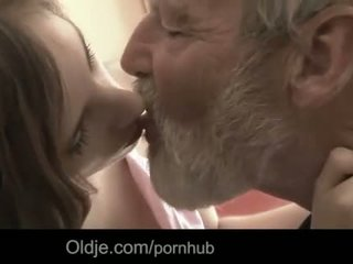 Bearded grandpa cum in Tina's young mouth