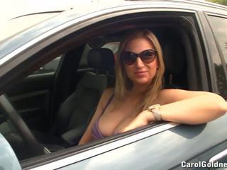 boobs in car