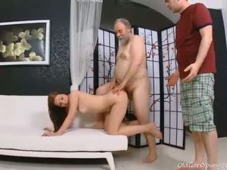 Juvenile sweetie enjoys rear fuck with old boy