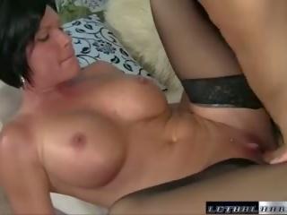 brunette, ass licking, big tits