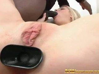 amazing blonde slut threesome interracial porn anal dp