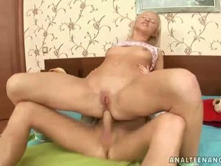 Cute blonde gets her tight asshole fucked