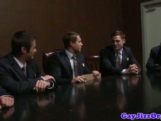 Interracial business jocks loving cumshots