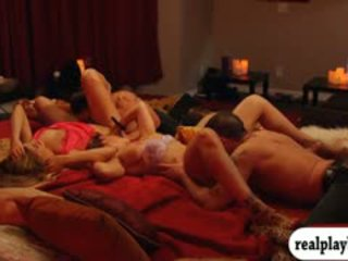 brunette, group sex, doggystyle
