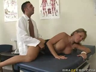 Naughty busty blonde slut gets her pussy fucked hard by gynecologist