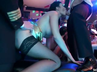 Naughty pornstar suck two dicks in club