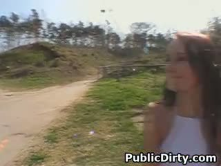 Brunette Public Finger Fucking And Blowjob Outdoors