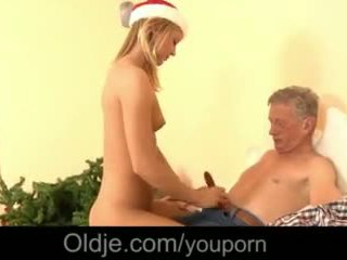 Merry Fucking Christmas Super-hot Blonde Cumshot Drilled by Old Man Video