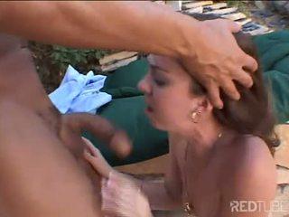 Sweet brunette does interracial fucking