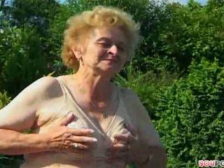古い, おばあちゃん, アウトドア, ストッキング