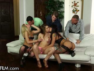 brunette, oral sex, deepthroat, group sex