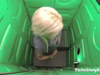 Porta Gloryhole Blonde Sucks Random Mens Cocks