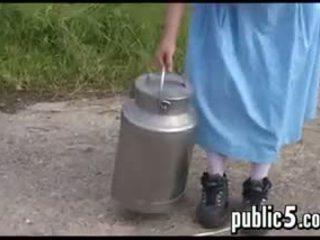 MILF Milking Her Big Breasts Outdoors
