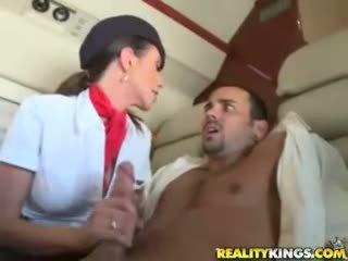 Hot flight attendents ariella ferrera and aimee addison give in flight bukkake