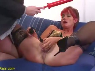 double penetration, redhead, anal, lingerie