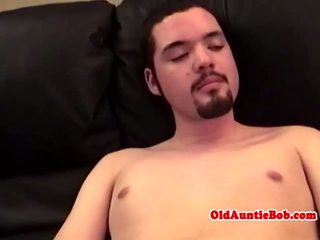 Old gay toad rubbing y-unger guys dick POV
